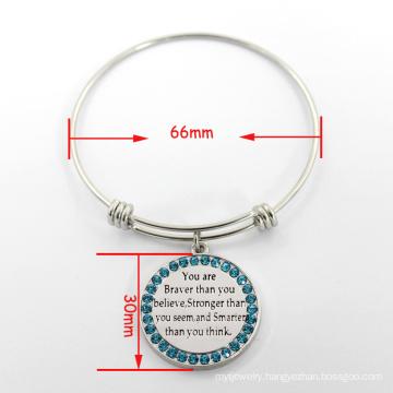 Stylish Wire Charm Expandable Bangle Adjustable Silver Bracelet