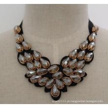 2016 artesanal talão de cristal moda charme robusto traje bib gargantilha colar colar (jE0006)