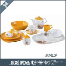 46PCS Porcelain Dinner Set, New Square shape dinner set, flower decal dinner set