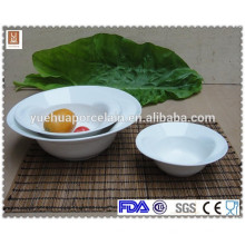 Chinês simples design rodada cerâmica porcelana branca tigela de sopa conjunto