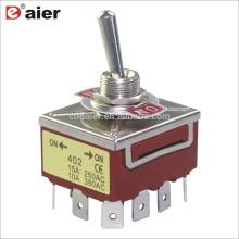 12MM 15A 250V 4PDT 12Pin Locking Interruptor de palanca de 3 etapas ON OFF ON