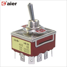 12MM 15A 250V 4PDT 12Pin Locking 3 Stage Toggle Switch ON OFF ON