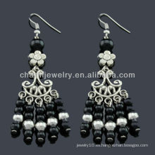 Pendientes de moda de plata antiguo de la mano pendientes Vners piedras negras SE-012