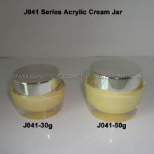 30g 50g Oval Shape Acrylic Cream Jar with Shiny Silver Cap