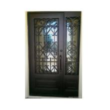 Wrought Iron Entrance Doors with Tempered Glass