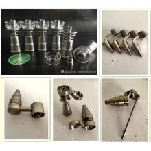 Titane et Quartz Nail Domeless 6-en-1 Titane Nail Fit pour tuyaux d'eau en verre Tubes à fumer