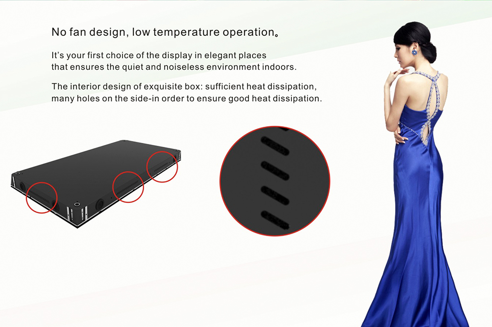 No fan design Indoor wall mounted led screen