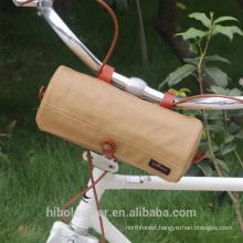 Bicycle Handlebar Bag Carrying Shoulder Bag Waterproof Canvas Khaki Cycling Storage Front Basket
