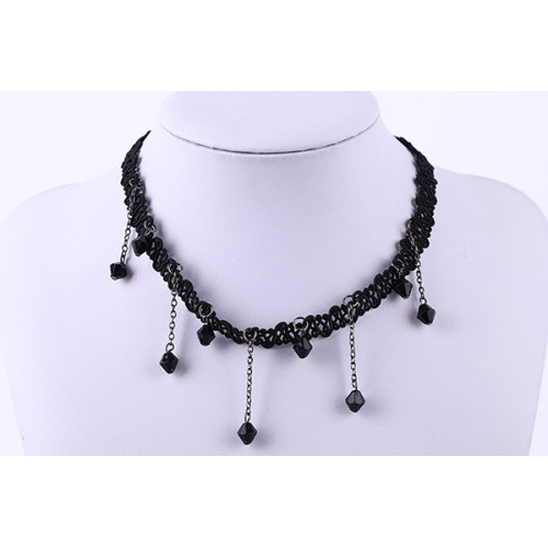 Black String With Crystal Glass Beads Choker Necklace