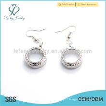 Hot designer earrings for cute girls,low price photo glass floating locket earrings