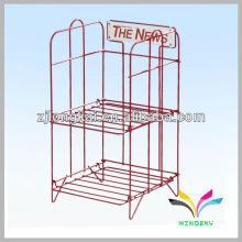 Fashion Sturdy welded 2 levels red big capacity metal supermarket display heavy duty shelf bracket