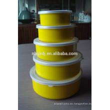 Set de 5 platos de esmalte para alimentos con tapas PE y calcomanías amarillas