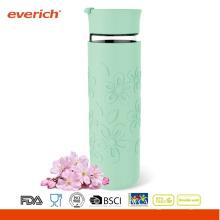 Coupe en verre à base de borosilicate de haute qualité de 550 ml avec doublure et manchon en silicone