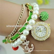 2015 trendy diamond dial anchor and shambala beads pearl strap bracelet women watch