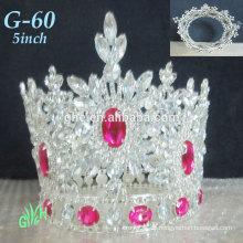 Neue Großhandel Yiwu Tiara Rosa Mini Krone Die ganze Runde