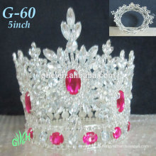 Новый оптовый Yiwu Tiara Pink Mini Crown Весь раунд