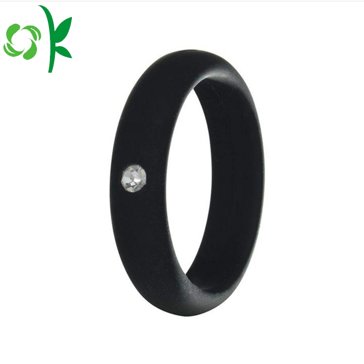 black silicone ring with daimond