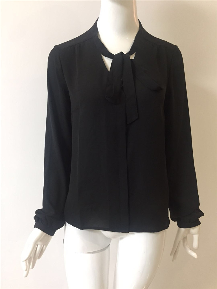 Woman Black Polyester Shirt