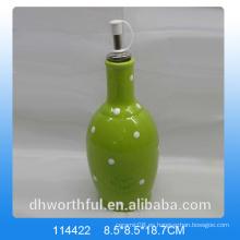 Botella de aceite de cerámica verde de alta calidad para vajilla