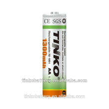 with SGS/MSDS/CE certification NI-MH AA 1300mah 1.2v Rechargeable battery