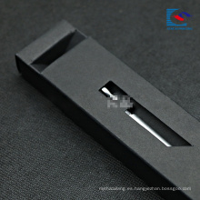 caja de cajón de embalaje de papel negro de lujo para pluma