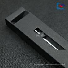boîte noire de tiroir d'emballage de papier de luxe pour le stylo-plume