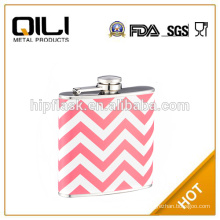 red 6oz heat transfer print leather metal hip flask for promotion