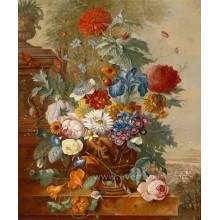 Pintura hecha a mano hermosa de la flor en lona
