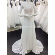 Alibaba Melhor Preço V-Neck Sem Mangas Aberto De volta Empire Lace Chiffon Beach Prom Dress Mulheres Vestidos De Festa De Casamento A082