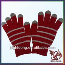 Frauen Double Layer Strick Winter Handschuh Red Stretch Nylon Arcylic Handschuh
