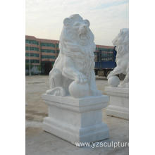 Life Size Standing White Marble Lion Sculpture