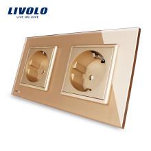 Livolo Panneau en verre cristal doré Double prise de courant, norme européenne 16A, prise murale VL-C7C2EU-13
