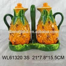 Botella de cerámica del vinagre de la venta caliente con diseño de la piña