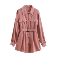 New Arrival Lady Corduroy Fabric Slim Jacket