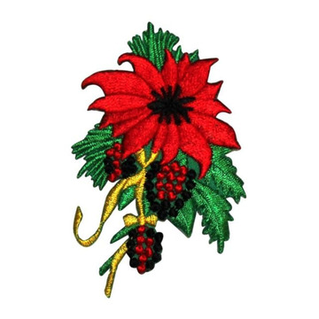 Christmas Flower Poinsettia Patch Holly Haftowany