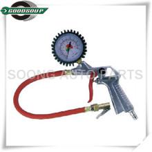 Inflador de neumáticos de manguera flexible rojo / herramientas de vehículo medidor de inflación / Dial calibre de llanta de neumático