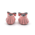 Mocassins de couro do bebê Bow Pink Shoes For Girls
