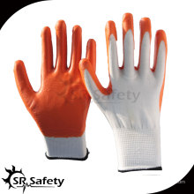 SRSAFETY 13 калибра трикотажные полиэфирные красные нитриловые перчатки рабочие перчатки со свободными образцами, поставщики фарфора