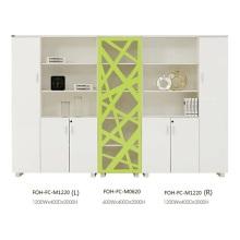 Belle armoire de rangement ouverte ouverte blanche et verte avec tiroir (FOH-FC-M1220)