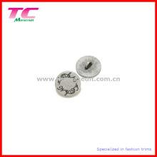 Economic Engraved Logo Flat Round Metal Shank Button