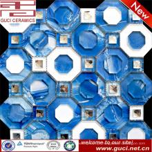 Telhas acrílicas misturadas azuis do cristal do mosaico do fundo do mar no projeto da sala