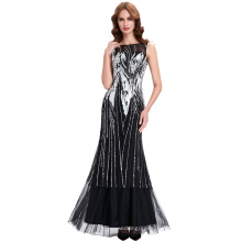 Starzz 2016 Sleeveless Cheap Sequins Black Tulle Netting Ball Gown Evening Prom Party Dress 8 Size US 2~16 ST000059-1