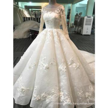Zhongshan appliqued long sleeve ball gown wedding dress 2017 WT268