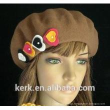 2015 new plush winter angora custom brown berets hats for ladies