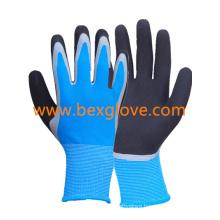13 Gauge Nylon Liner, Latex Coating, Double Coated, Full Thumb Coating, Sandy Finish Glove