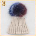Chine Fabricant Raccoon Fur Pom Pom Bonnet en tricot pliable