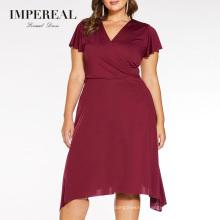 Wrap Style V Neckline Summer Short Dusty Rose Dress Designs Fat Women