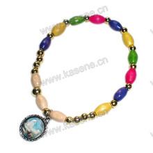 Mehrfarbige Holzperlen Elastische Mode Religiöse Armband