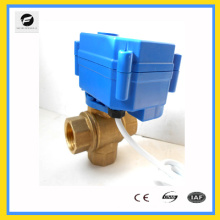 CWX -25S 3 way electric operated ball vave with manual control 1/4 3/8 1/2 3/4 size ss304 24v 110v 220v for water treatment