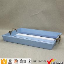 Пляжный ретро окрашенный синий сервировочный поднос